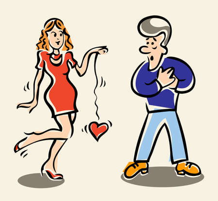Vector illustration of a confused young man taking his hands to his , and a playful young woman yo-yoing with the mans heart Illustration