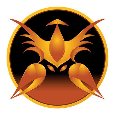 Vector illustration of scorpio zodiac sign inscribed into circle Vector