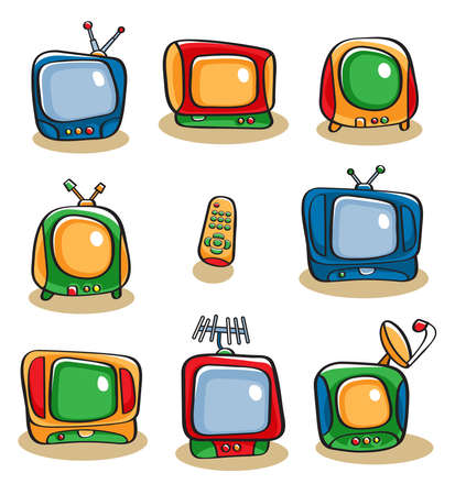 tv remote: Collection of eight colorful vector cartoon-style television sets and a remote control
