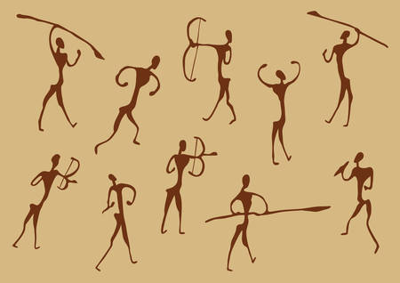 Cave drawings of ancient hunters, vector silhouettes