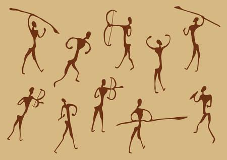 pintura rupestre: Pinturas rupestres de la antigua cazadores, vector siluetas