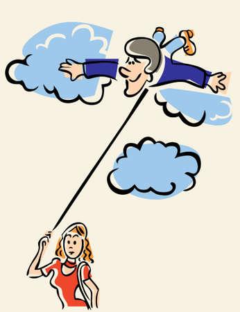 on cloud nine: Vector man in love on cloud nine