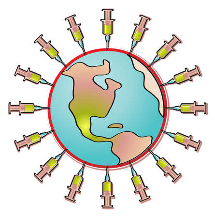 pandemia: Vector illustration of influenza virus in the shape of planet earth surrounded by vaccine syringes