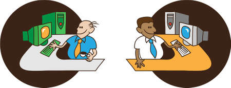 Vector illustration of two smiling adult men sitting at their desks and working on their computers Stock Vector - 4892894