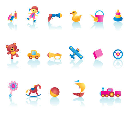 Collection of vector kid toy icons Illustration
