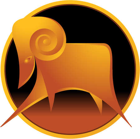 Vector illustration of aries zodiac sign inscribed into circle