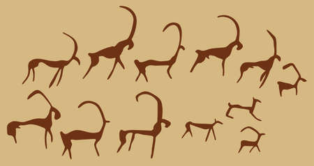 antelope: Cave drawings of ancient animals, vector silhouettes