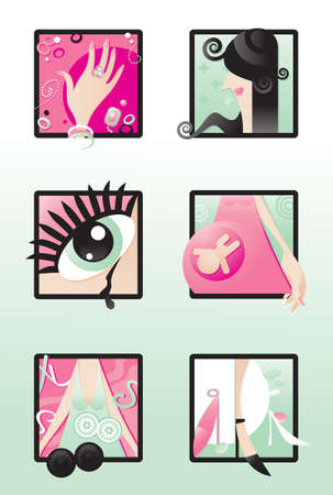 A set of six semi-abstract vector illustrations representing some of basic particular qualities proper to womans nature Vector