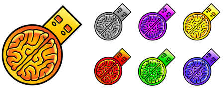 Set of seven colorful semi-abstract vector USB flash memory devices with the human brain as main element Illustration