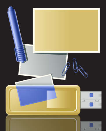 separate: Vector illustration of photographic pictures stored on USB flash device. Main elements are layered and can be used as separate objects