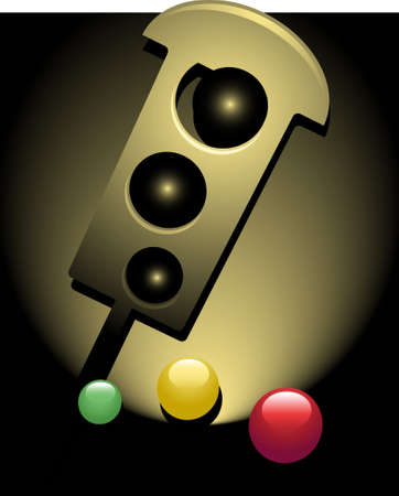 defective: Semi-abstract vector illustration of a traffic light with its three lights scattered around Illustration