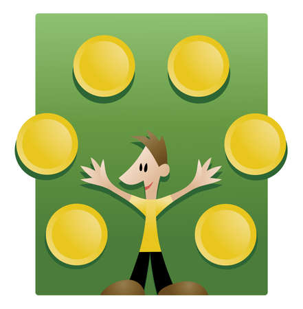 Vector illustration of a young man explaining things visually presented in the shape of round plates that can be filled with custom signs or dingbats Stock Vector - 4932217