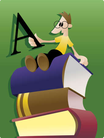 man holding book: Bookworm: a young man sitting atop a stack of books and holding letter A