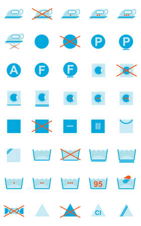 Set of 40 clothing care symbols Illustration