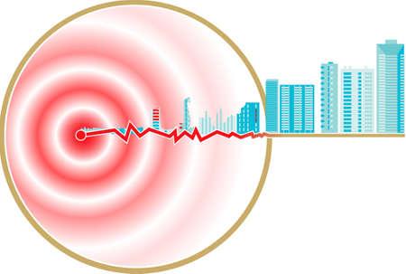 Représentation schématique de l'épicentre du séisme Banque d'images - 7460207