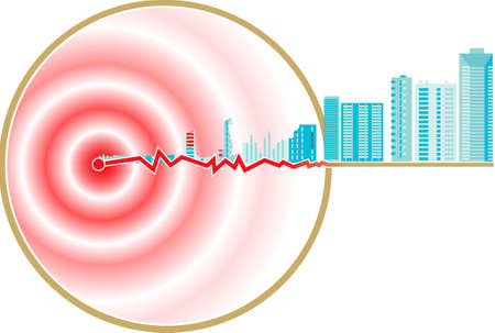 Schematic representation of earthquake epicenter Illustration