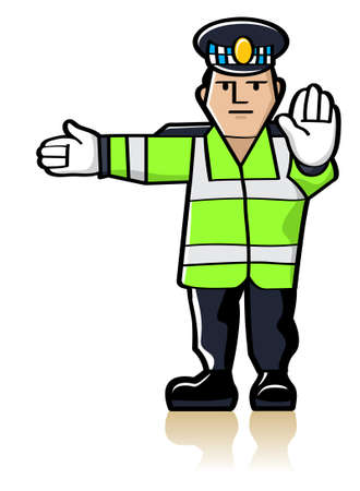 Traffic policeman in yellow reflective waistcoat making gesture signals to control traffic