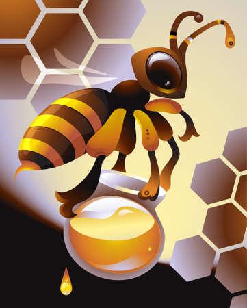 Working honeybee carrying a big pot full of honey Stock Vector - 7460210