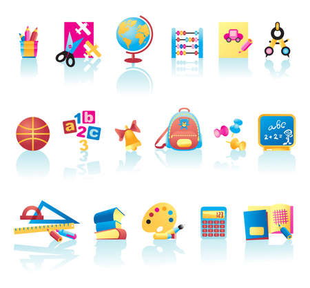 Vector collection of school supplies icons
