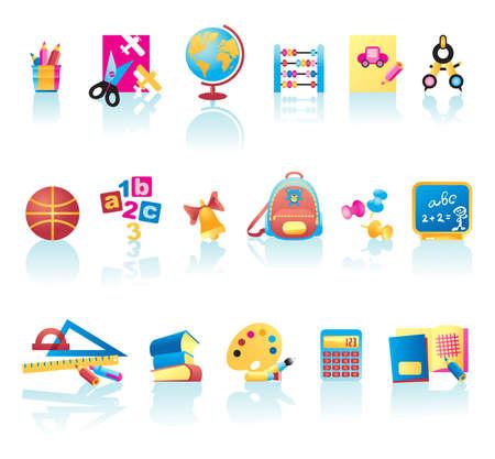 bookbag: Vector collection of school supplies icons