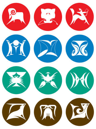 Set of silhouette images of twelve zodiac signs broken down into the elements of fire, earth, air, and water Vector