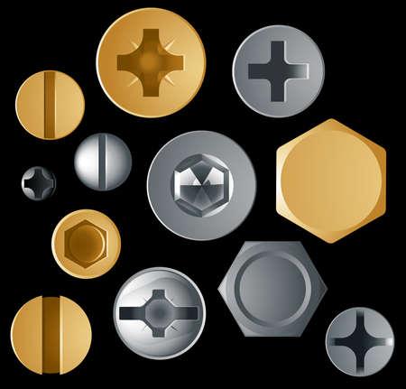 tornillos: Conjunto de doce de tornillo de vector y jefes de diferentes estilos de perno sobre fondo negro