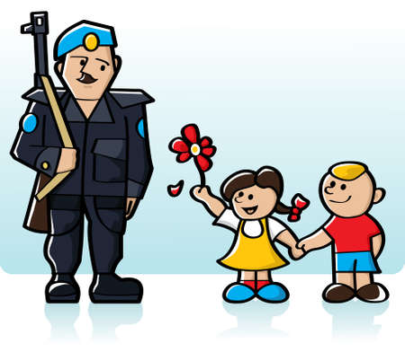 Two kids holding hands and giving a flower to a peacekeeper soldier Stock Vector - 7460208