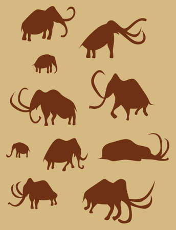 Ten silhouette images of ancient mammoths painted on a wall in a cave