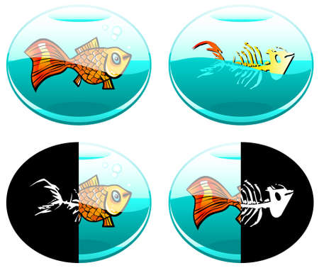leven en dood: Four semi-abstract vector images of fish in different natural aquatic environments - not always suitable for life Stock Illustratie