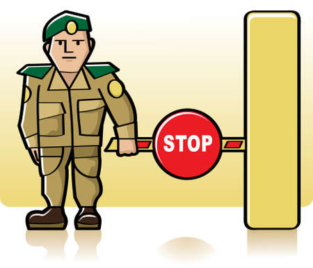 Customs officer standing next to the closed barrier Stock Vector - 7460204