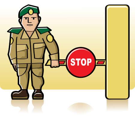 area restringida: Funcionario de aduanas, de pie junto a la barrera del cerrado