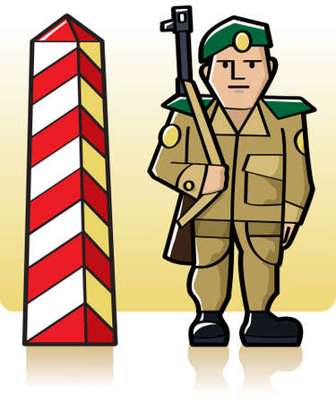 Border guard standing at watch next to the red and white boundary pillar Stock Vector - 7460205