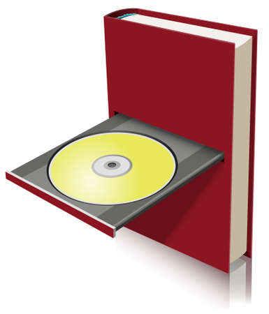 optical disk: Electronic book concept as a combination of paper book and disk drive Illustration