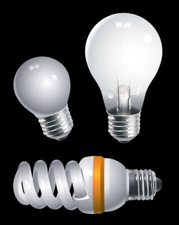 compact fluorescent lightbulb: Lightbulbs of different types isolated against black background Illustration