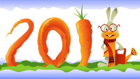 Happy rabbit, the symbol of 2011, growing a giant curly carrot