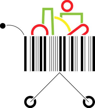 Shopping cart made up of a bar code pattern Stock Vector - 8043831