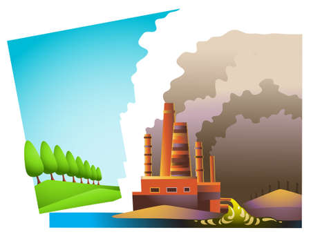 smoke stack: Illustration of a landscape split into two areas: ecologically clean one, and environmentally dead one