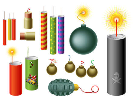 Set of firecrackers of different shapes