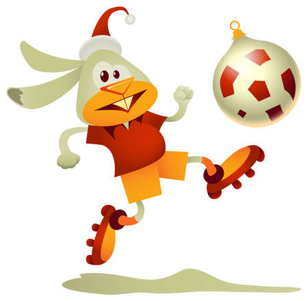 Funny rabbit, the symbol of 2011, kicking the bauble-shaped football Vector