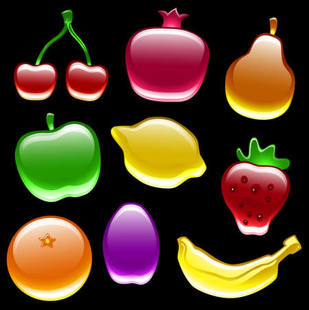 Collection of nine glossy fruit on black background Vector