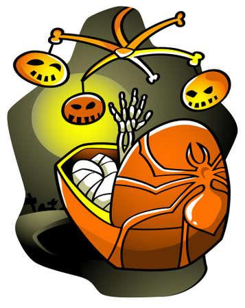 lullaby: Nana de Halloween: un esqueleto de beb� alcanzando un colgante juguetes de Halloween