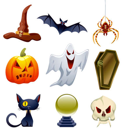 Collection of Halloween-related objects and creatures Vector