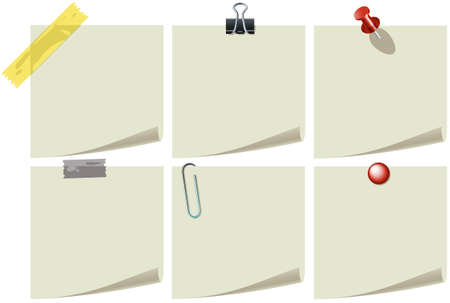 paper curl: Note paper with pins and clips Illustration