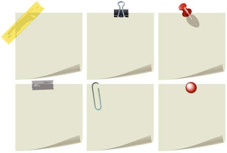 pin: Papel de la nota con pines y clips