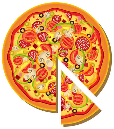 pepperoni: Illustration of pizza Illustration
