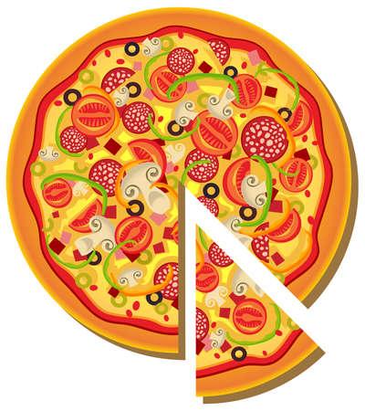 pepperoni pizza: Illustration of pizza Illustration