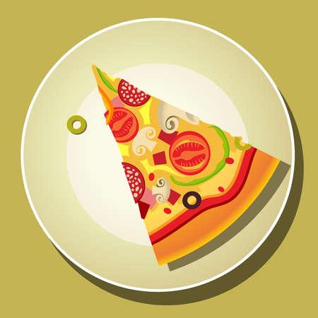 mozzarelle e formaggi: Pizza slice sulla piastra Vettoriali