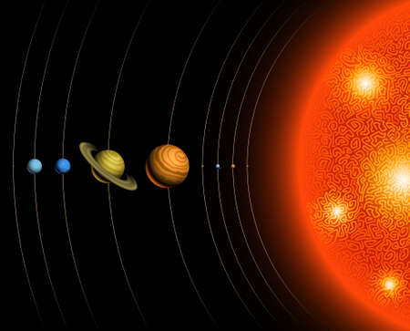 Illustration of the solar system, including the sun and nine planets