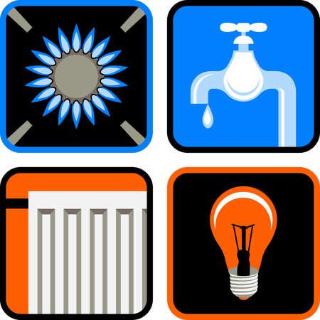 abastecimiento: Conjunto de iconos de cuatro servicios p�blicos esenciales: gas, agua, electricidad y calefacci�n  Vectores