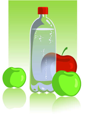 Apples and mineral water Stock Vector - 8065218